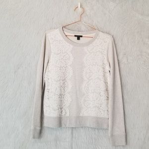 J. Crew Holiday Lace Front Grey Sweater